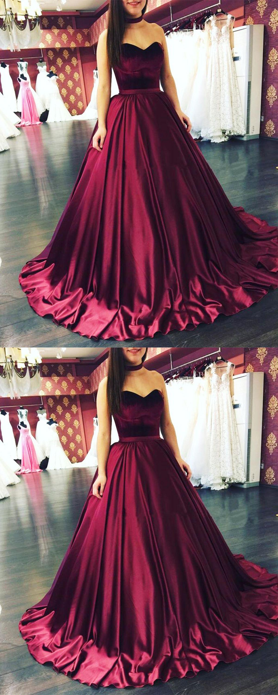 Charming ball gown sweetheart burgundy long promevening dress