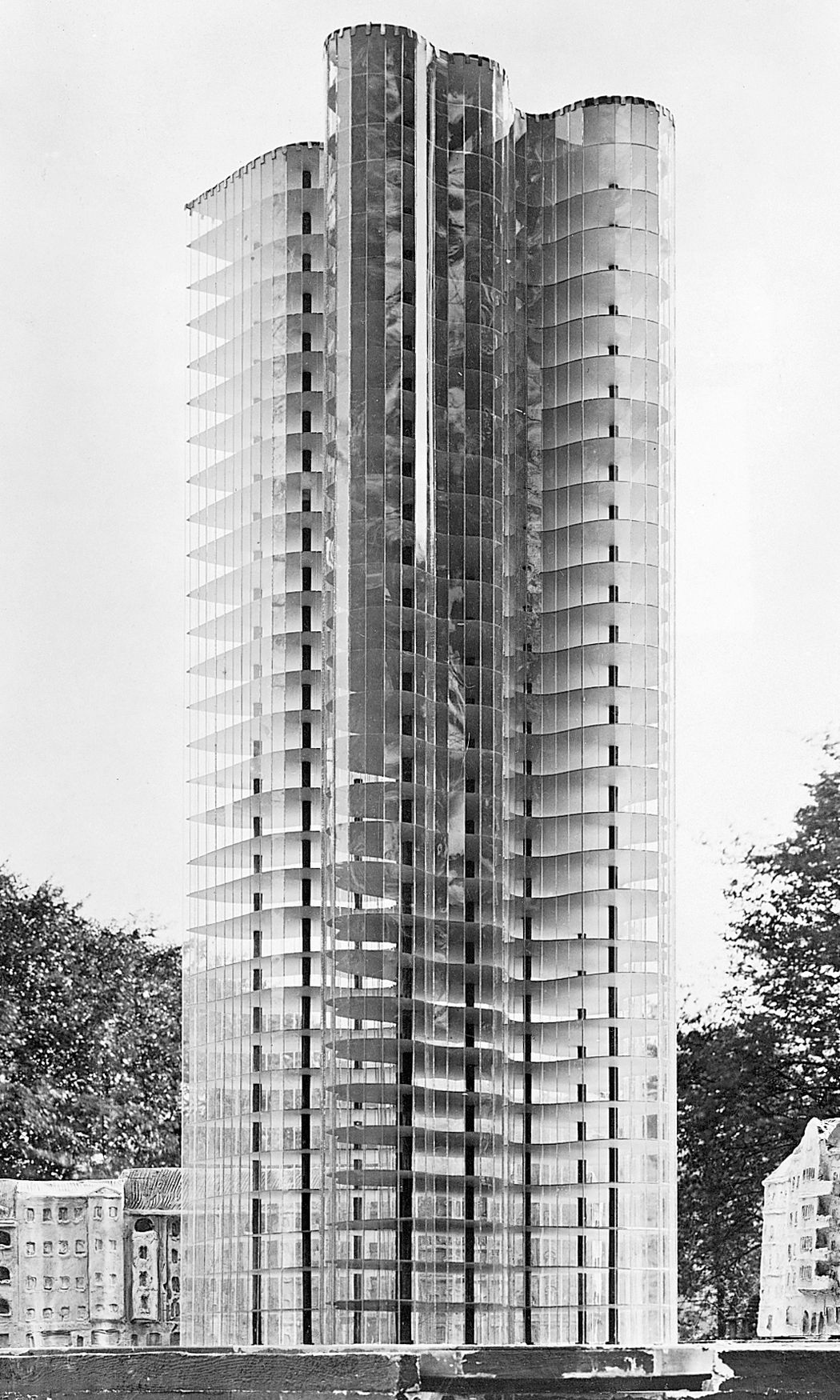 BAUHAUS~ Ludwig Mies Van Der Rohe, Model For A Glass Skyscraper, Berlin,  Germany, 1922 (no Longer Extant).