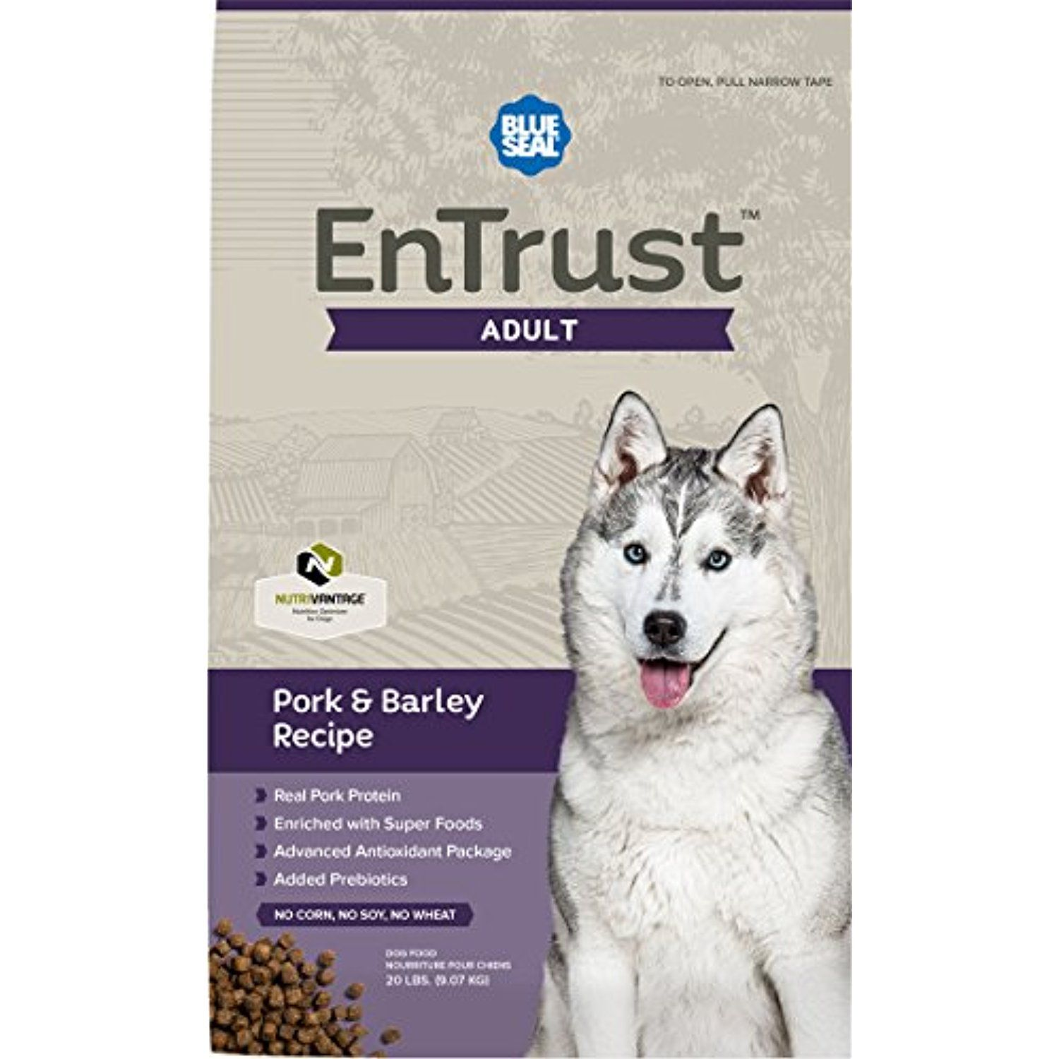 Blue Seal Entrust Adult Pork Barley Dog Food 40 Pounds To