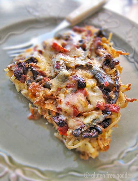 Gluten-free Pasta Frittata with goat cheese, olives, red pepper and ...