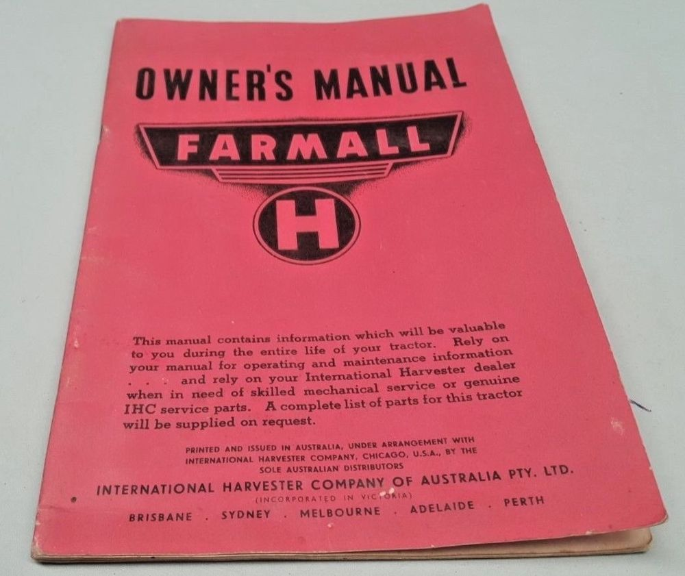 hight resolution of ebay sponsored 1939 1953 farmall h tractor original australian owners manual very rare
