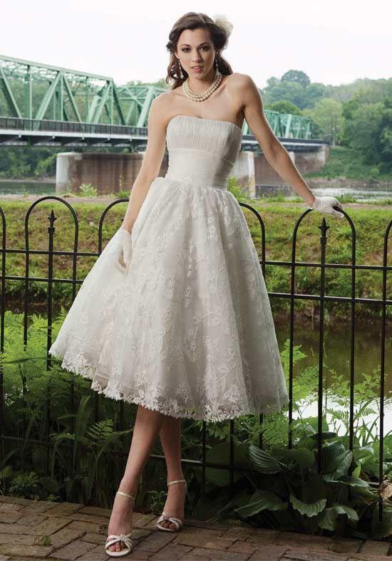 3d5c086e0b Vintage A Line Strapless Organza Tea Length Beach Summer Wedding Dress