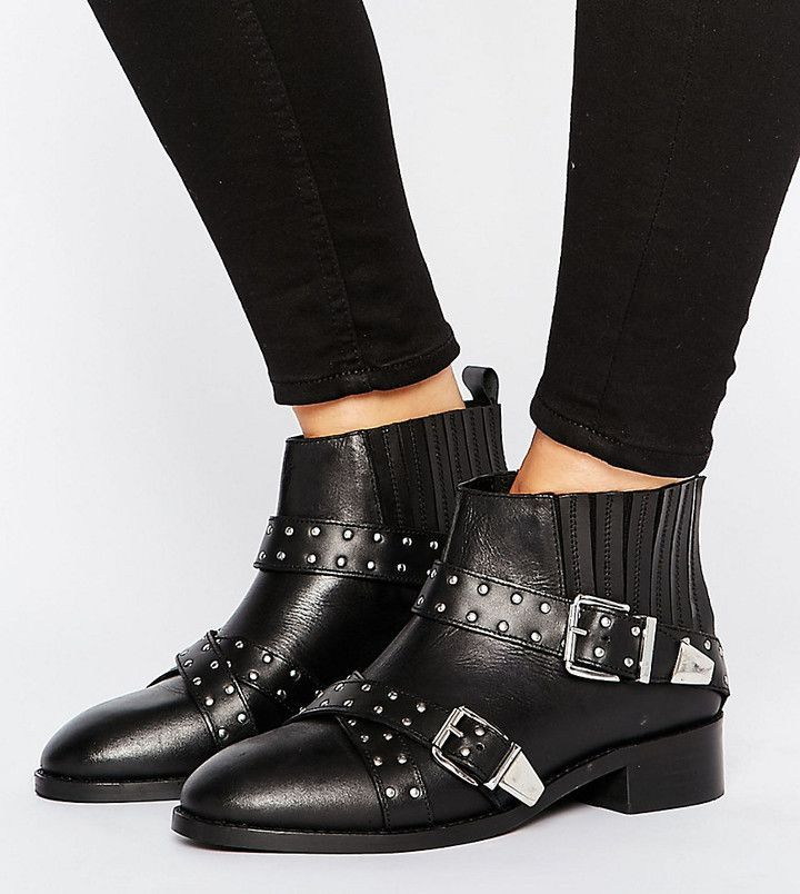 ASOS ASHES Wide Fit Studded Leather Ankle Boots - Black  881b4c54f3d