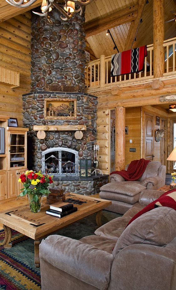 34 Beautiful Stone Fireplaces That Rock | Stone fireplaces, Logs and ...