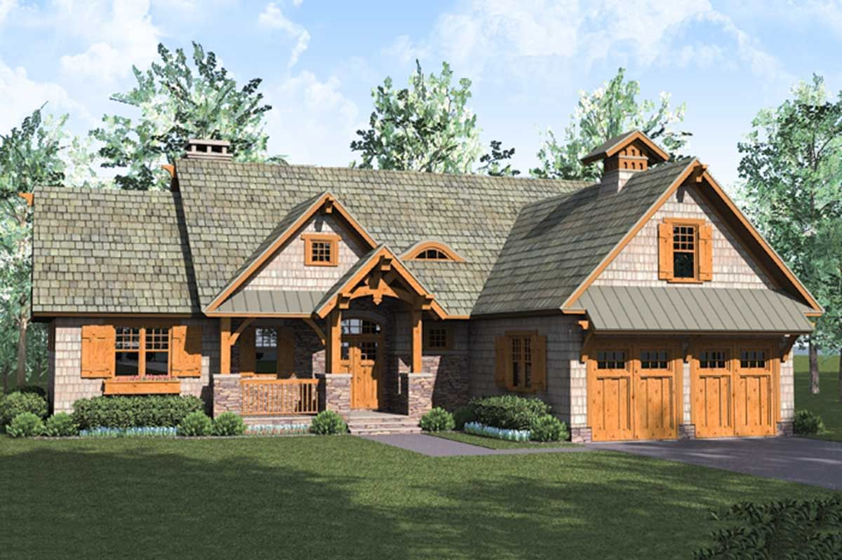 Plan 17742lv Rustic Craftsman Lodge With Bonus Over Garage Rustic House Plans Craftsman House Plans Craftsman House Plan