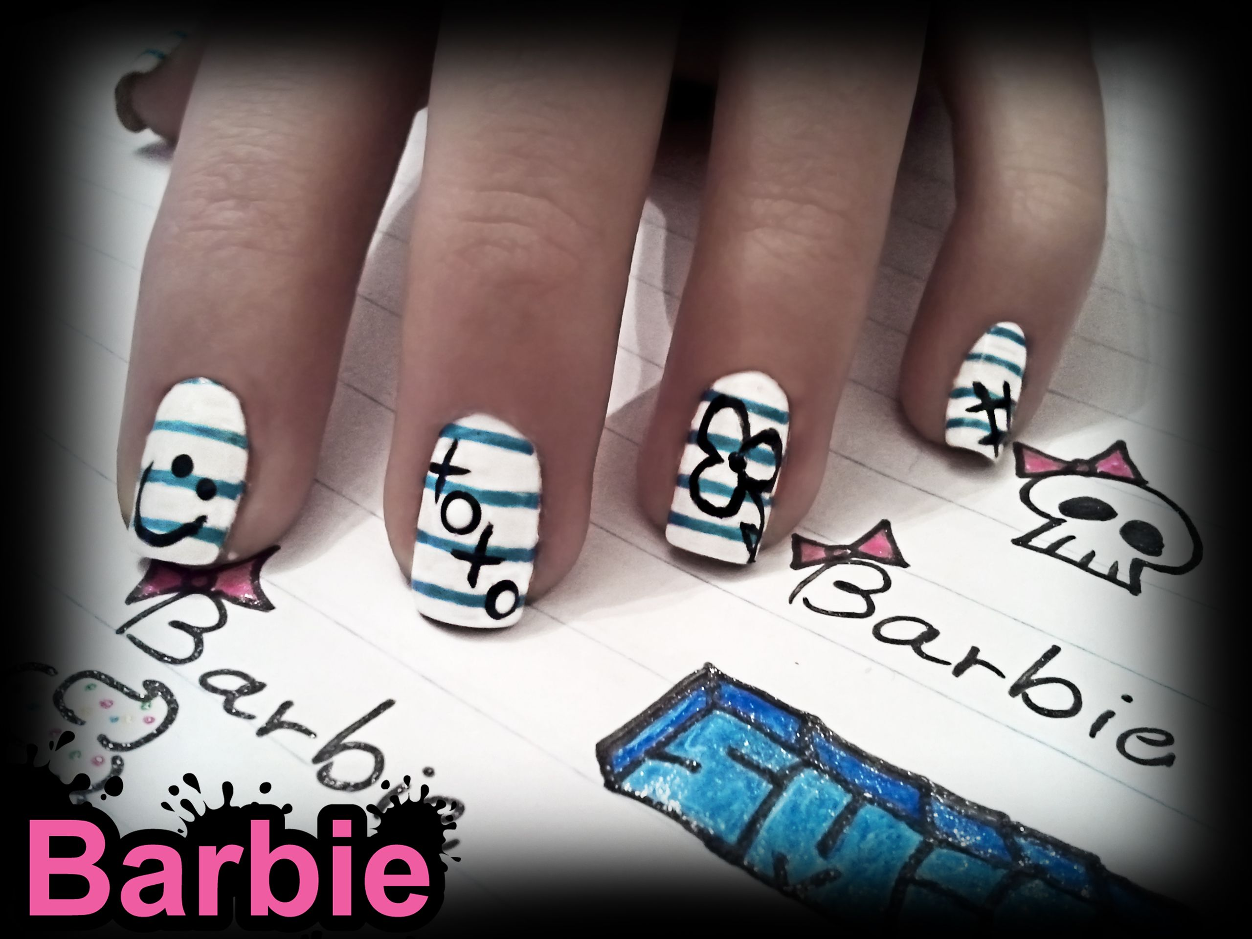 Notebook Nails - Nail design of a scrambled notebook from the ...
