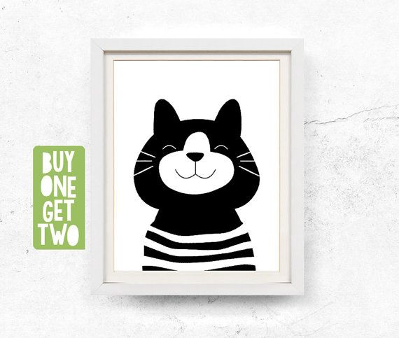 Cat illustration. Monochrome nursery wall art. This listing contains HIGH RESOLUTION 8x10 and 11x14 digital files for INSTANT DOWNLOAD. These files (JPG & PDF) are suitable for large and small prints. You can print them at home, at a local print shop or at an online printing service. No physical item will be shipped to you. You will receive: 1) 8x10 high resolution 300 dpi file (JPG) 2) 8x10 high resolution 300 dpi file (PDF) 3) 11x14 high resolution 300 dpi file (JPG) 4) 11x14 high res...