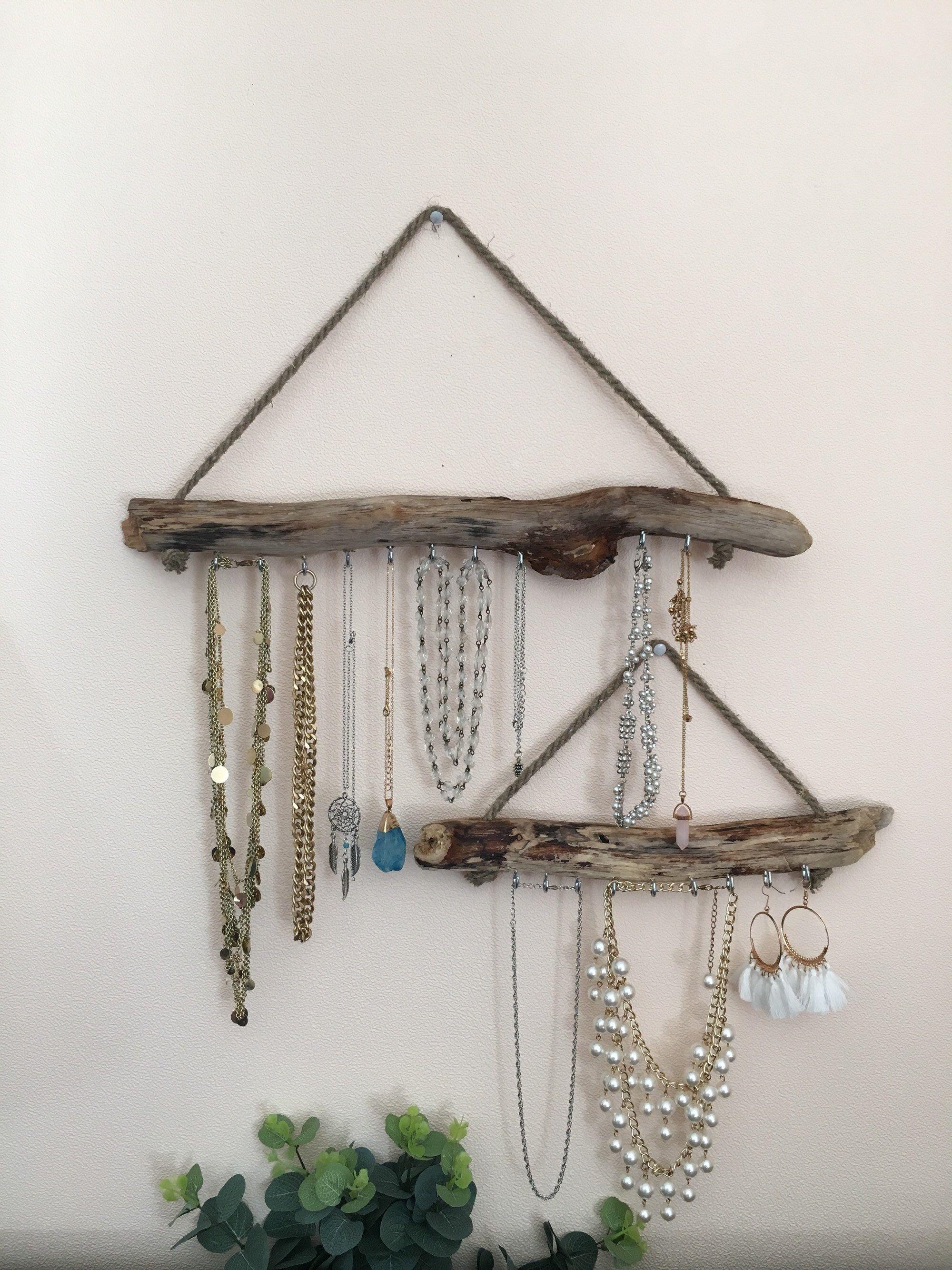 set of 2 driftwood jewelry organizer