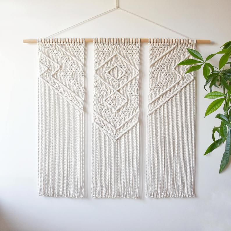 macrame wall hanging, geometric tapestry, wall fiber art, macrame pattern decoration, modern macrame, woven art, made to order CELESTINE
