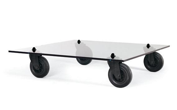 Diy Glass Coffee Table On Wheels Remodelista In 2020 Coffee Table With Wheels Glass Top Coffee Table Glass Coffee Table