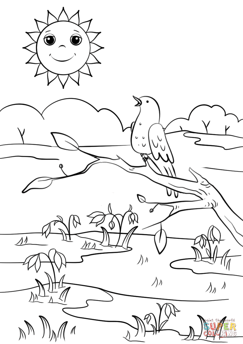 Spring Scene Super Coloring In 2020 Spring Coloring Pages Spring Coloring Sheets Disney Coloring Pages
