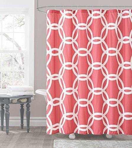 Amazon Com Seavish Fabric Shower Curtain White Geometric Quick Drying Waterproof 72 X 78 Geometric Shower Curtain Fabric Shower Curtains Boys Shower Curtain