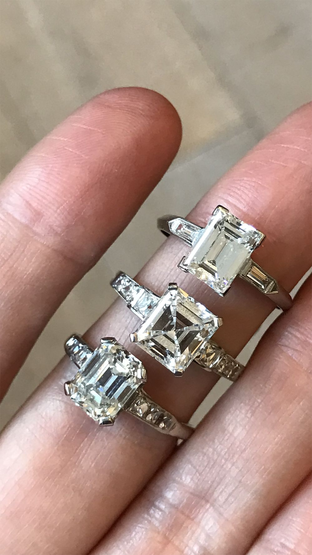 8f5a9bc22a567 Vintage emerald cut diamond engagement rings. Emerald cut diamonds ...