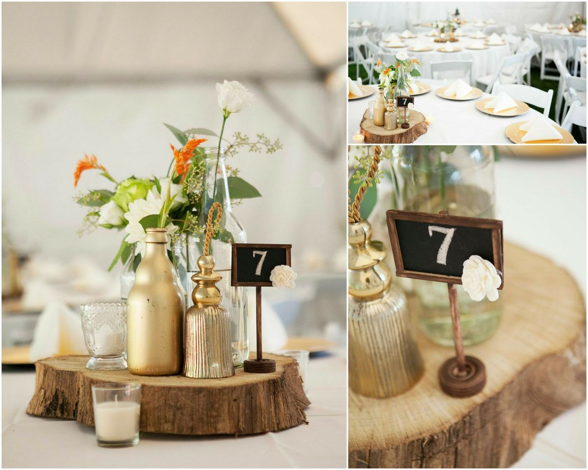 Slab Of Wood Underneath Clustered Flowers Table Number Rustic Centerpieces Christmas Tea Wood Slab Centerpiece