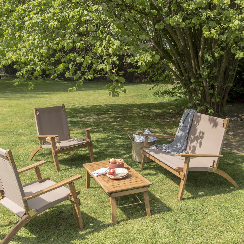 Salon bas de jardin Primavera bois naturelle, 4 personnes ...
