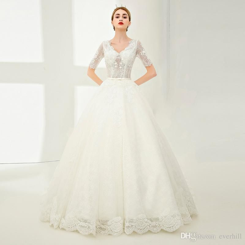 Western Style Princess Sequined Bride Wedding Dresses With Short