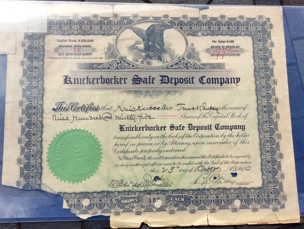 KNICKERBOCKER SAFE DEPOSIT CAPTL STOCK CERTIFICATE ISSUED TO - example of share certificate