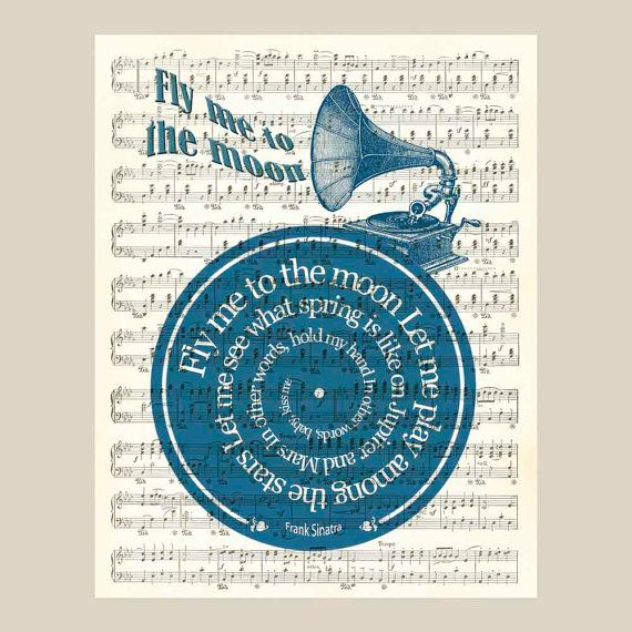 Language In 45 And 47 Stella Street: Fly Me To The Moon Frank Sinatra Song Lyric Art Vinyl