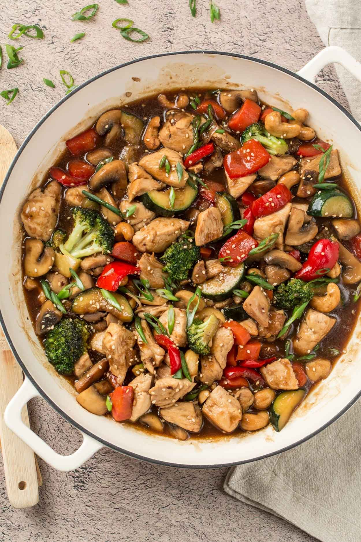 An easy chicken stir fry recipe made with vegetables and a homemade stir fry sauce. Served great over rice or noodles. #stirfrysauce