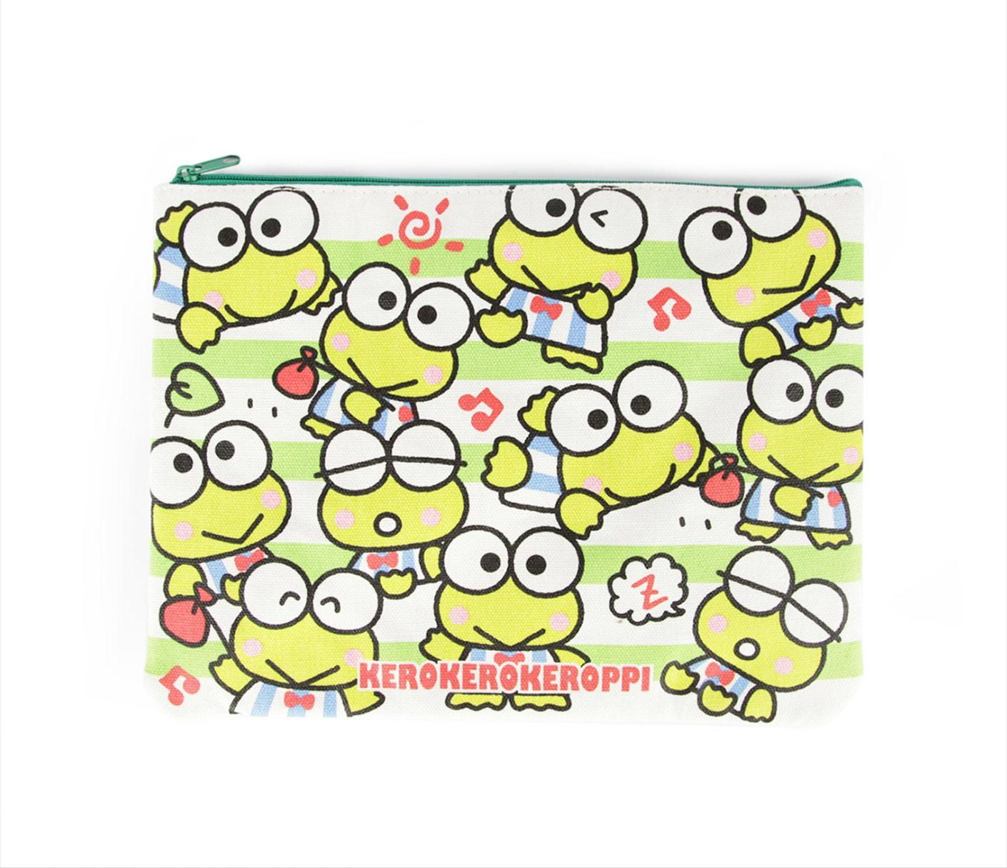 Keroppi Flat Pouch: Green Stripe Collection