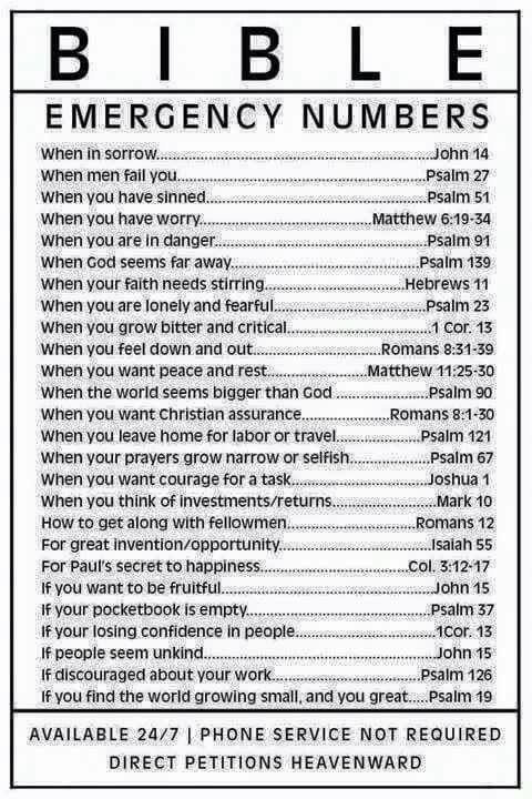 Pin by Brigit Kyle on Faith | Bible emergency numbers, Bible