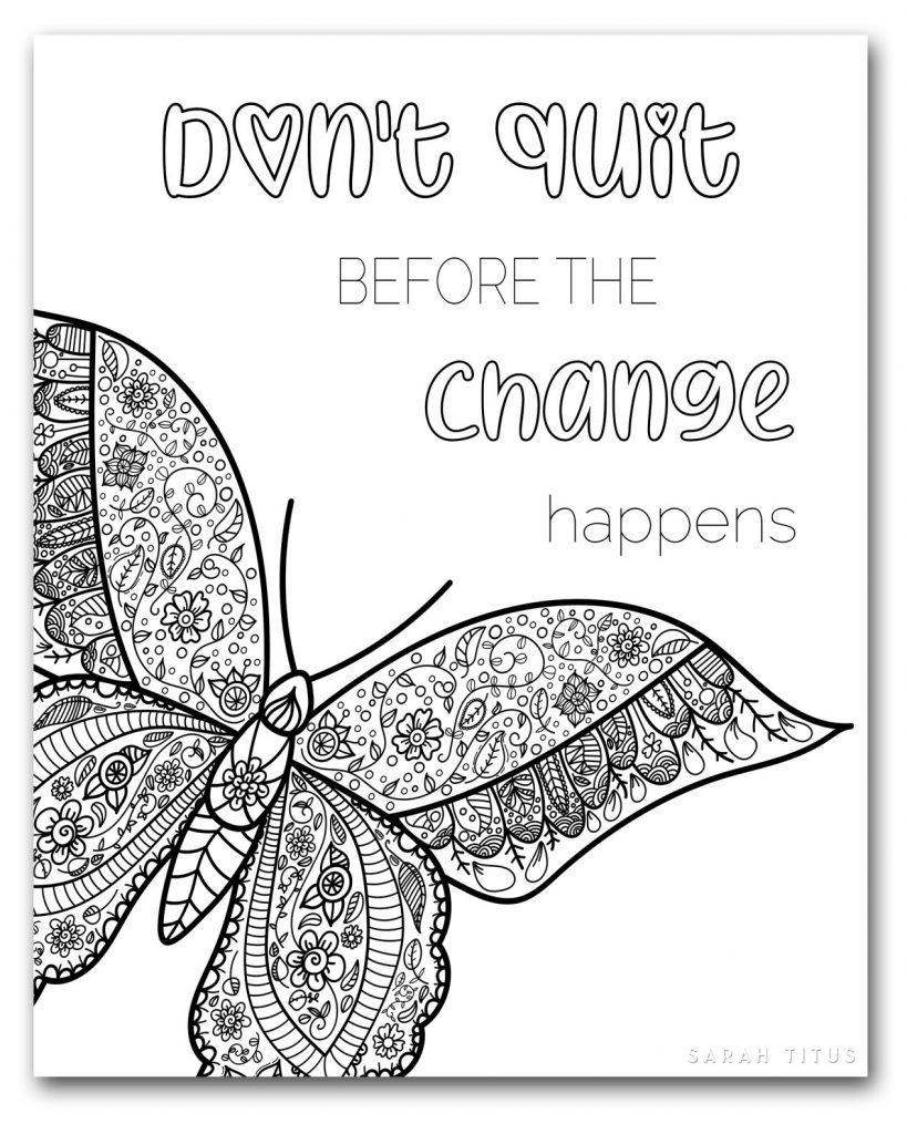 Coloring Book For Adults Free Printables Clean Butterfly Coloring Page Coloring Pages For Teenagers Quote Coloring Pages [ 1024 x 819 Pixel ]