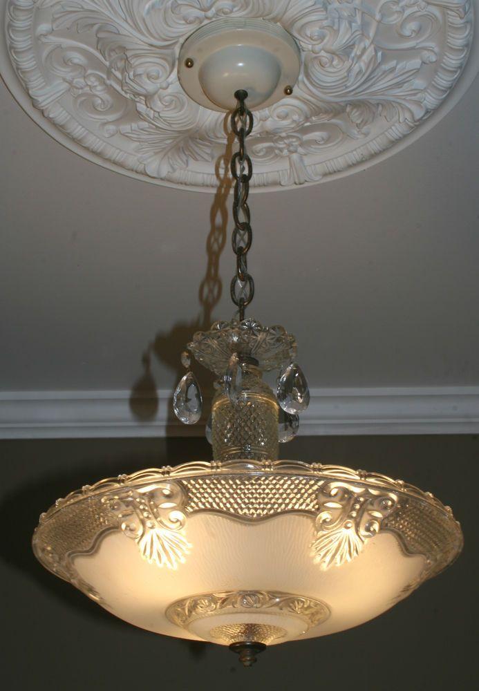 1940s Antique Glass Art Deco Light Fixture Ceiling Chandelier