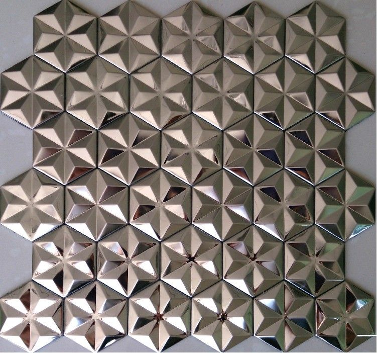 Silver metal mosaic stainless steel wall tiles backsplash for Mosaic wallpaper for walls