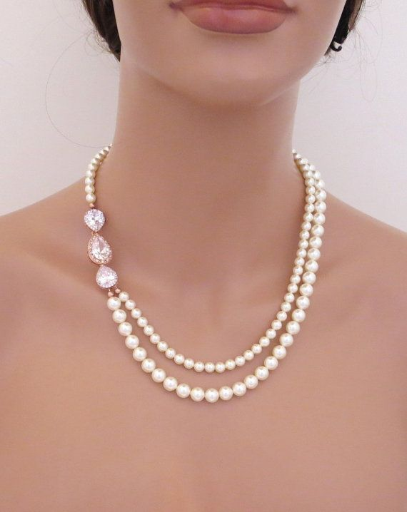 8dda4b1884f0 Rose Gold Bridal necklace Pearl Wedding necklace Bridal jewelry Rose ...
