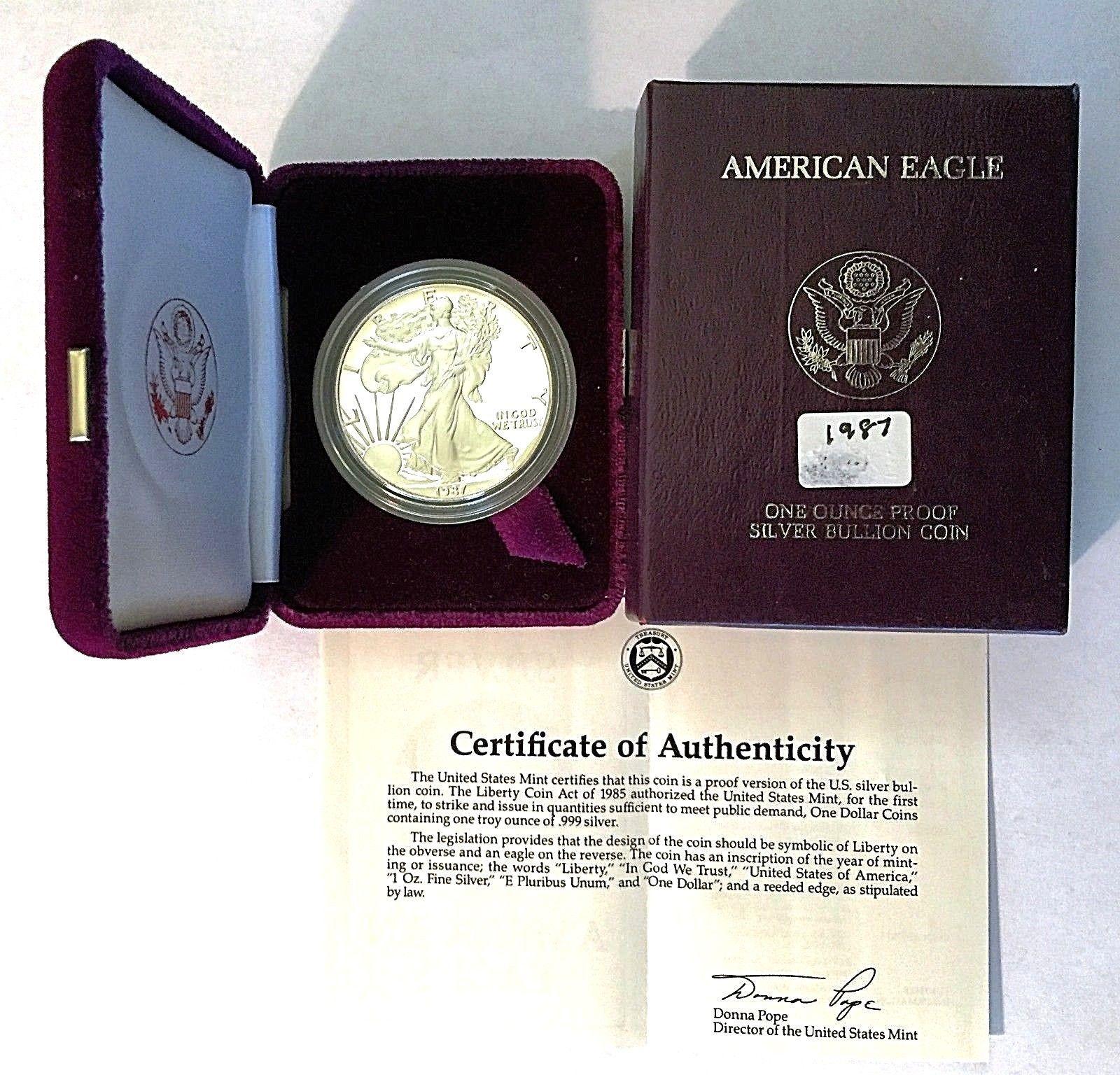 1987 American Eagle One Ounce Silver Bullion Proof Coin One Dollar COA /& Box