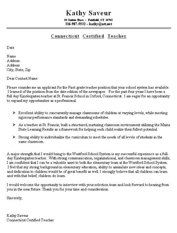 First Grade Teacher Cover Letter Example Job Search Sample