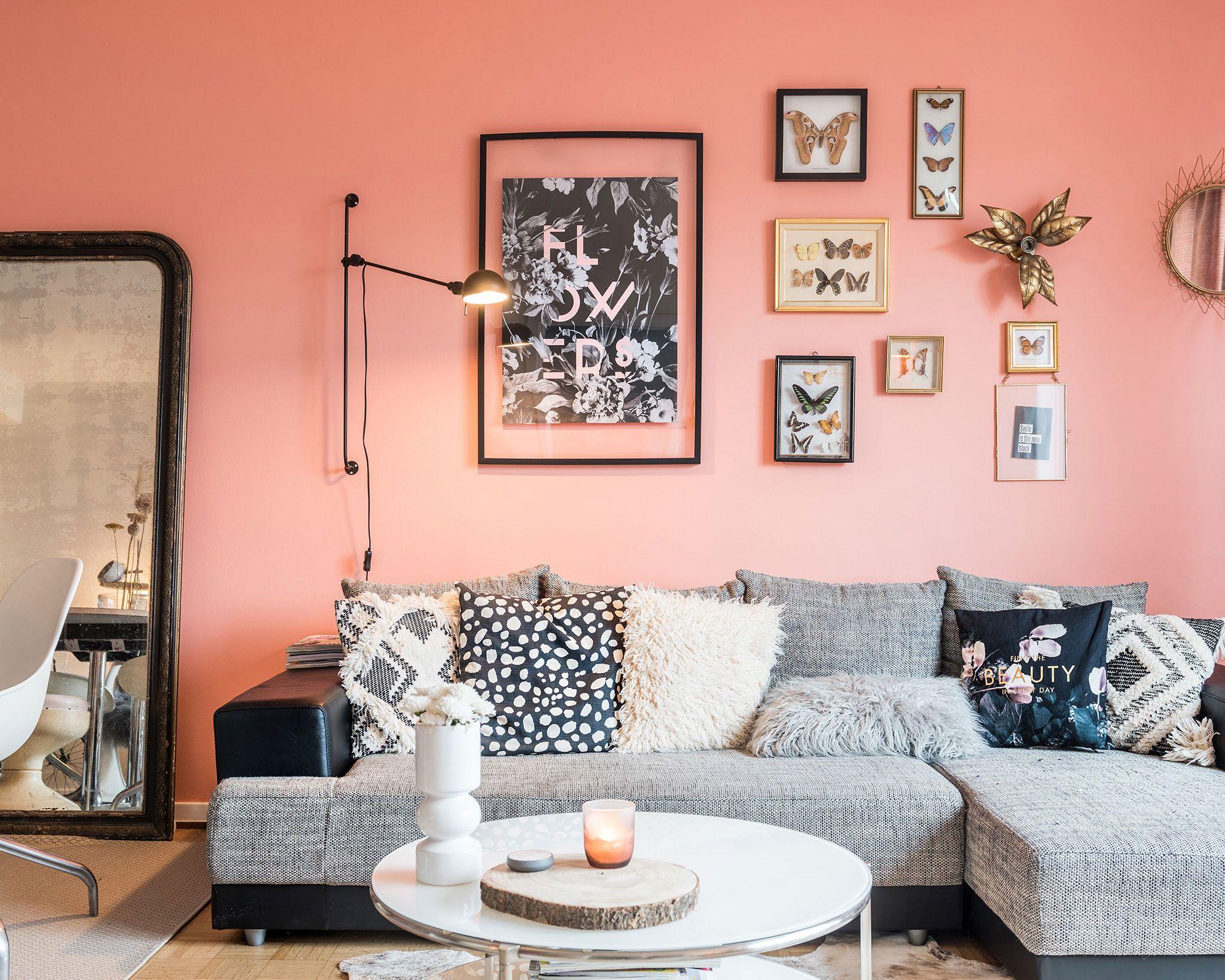 13zor Jennifer Ghislain woonkamer roze muur | Inspiratie woning ...