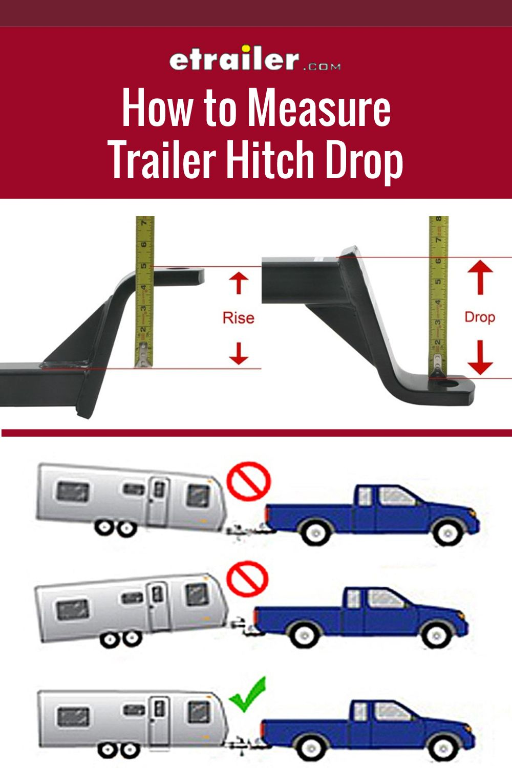 How To Measure Trailer Hitch Drop Towing Trailer Travel Trailer Camping Trailer