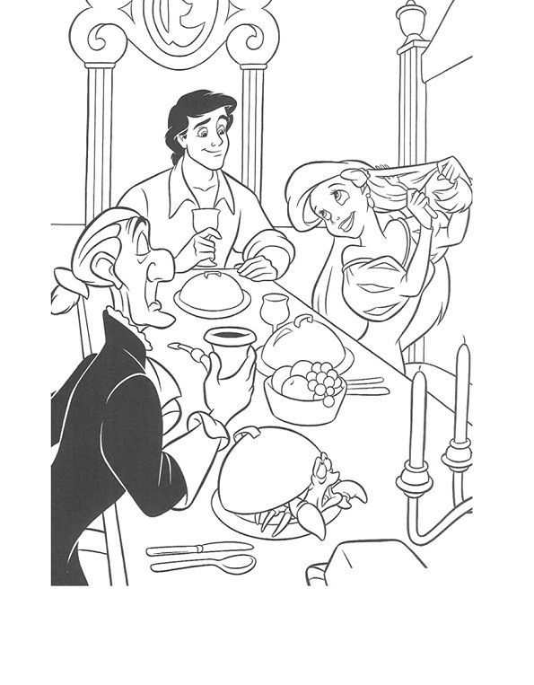 Ariel Dinner With Prince Eric Coloring Pages | Disney ...