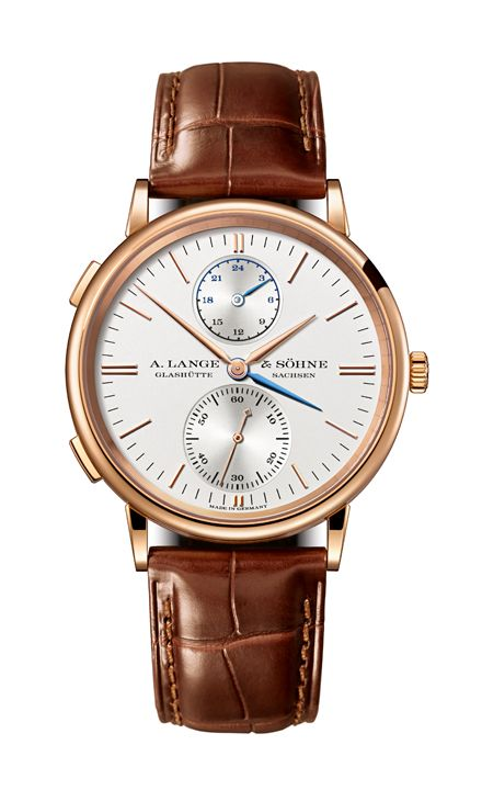 A. Lange & Söhne: Saxonia Dual Time in rose gold with brown band.