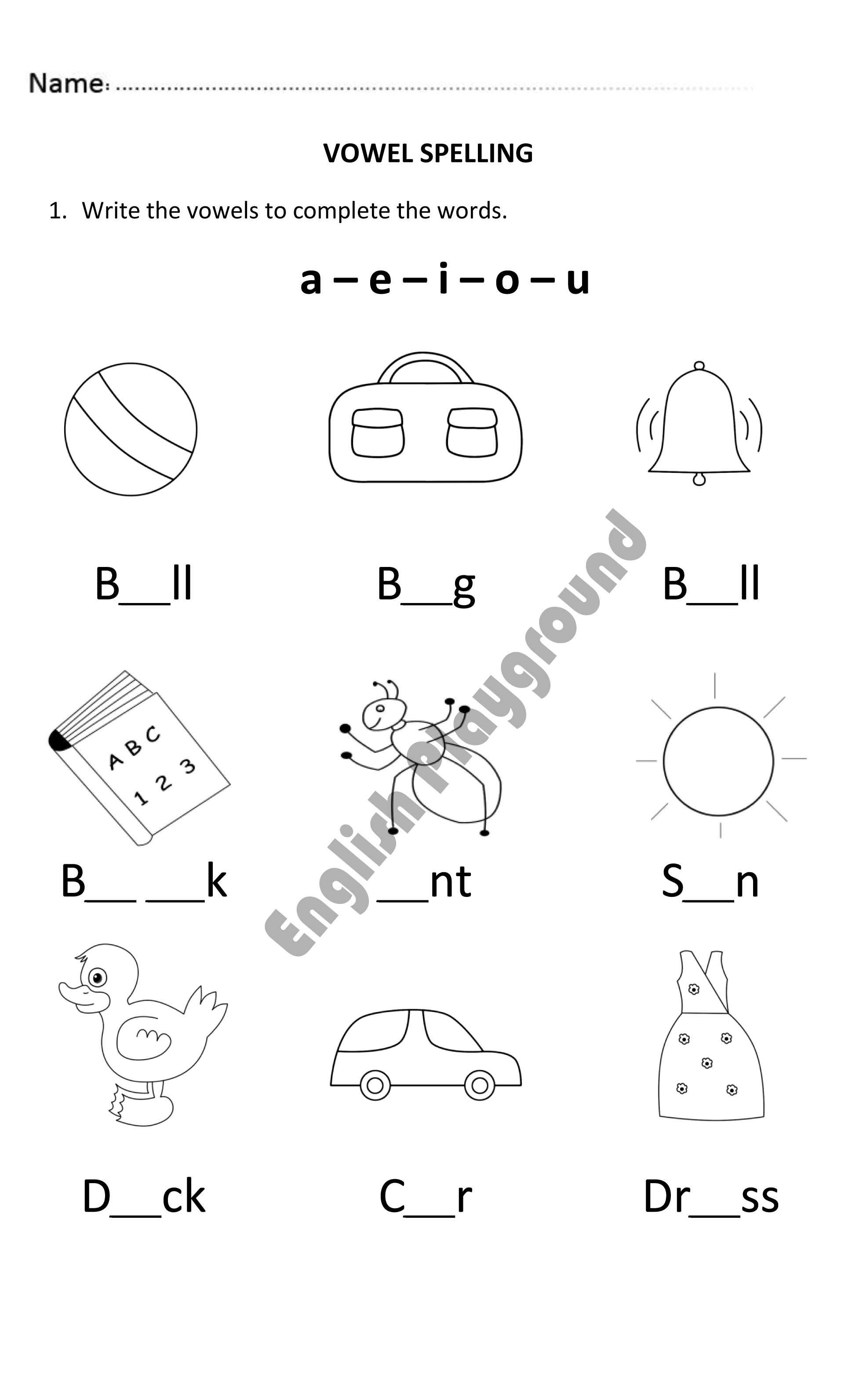 Vowel Spelling for Year 1 Students | Spelling worksheets ...