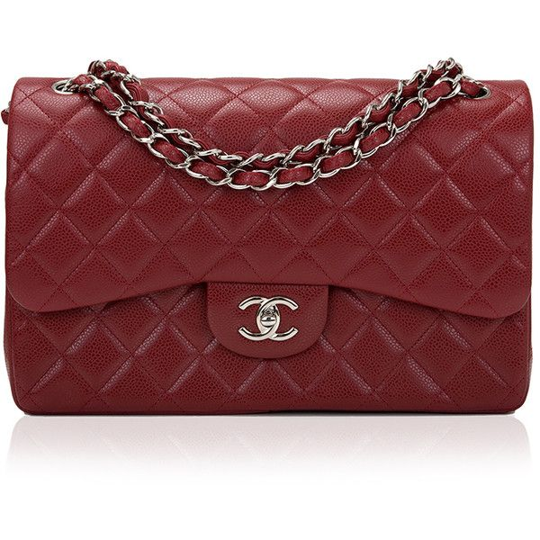 Madison Avenue Couture Chanel Dark Red Quilted Caviar Jumbo Classic... ($6,600) ❤ liked on Polyvore featuring bags, handbags, shoulder bags, shoulder strap purses, quilted leather shoulder bag, quilted purse, quilted handbags and red leather handbag