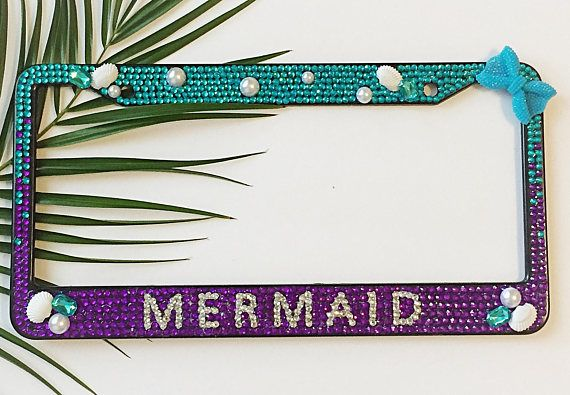 Mermaid Bling Bedazzled Ombré Aqua Purple Bling license plate frame ...