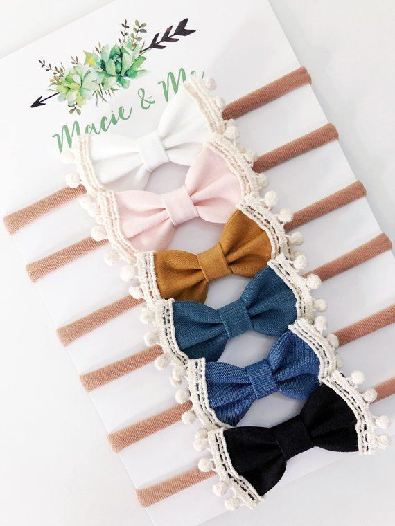 YOU PICK Trimmed bows / Headband or Clip / Lace / Baby girl / Newborn baby girl / Clip / Pigtail bows /
