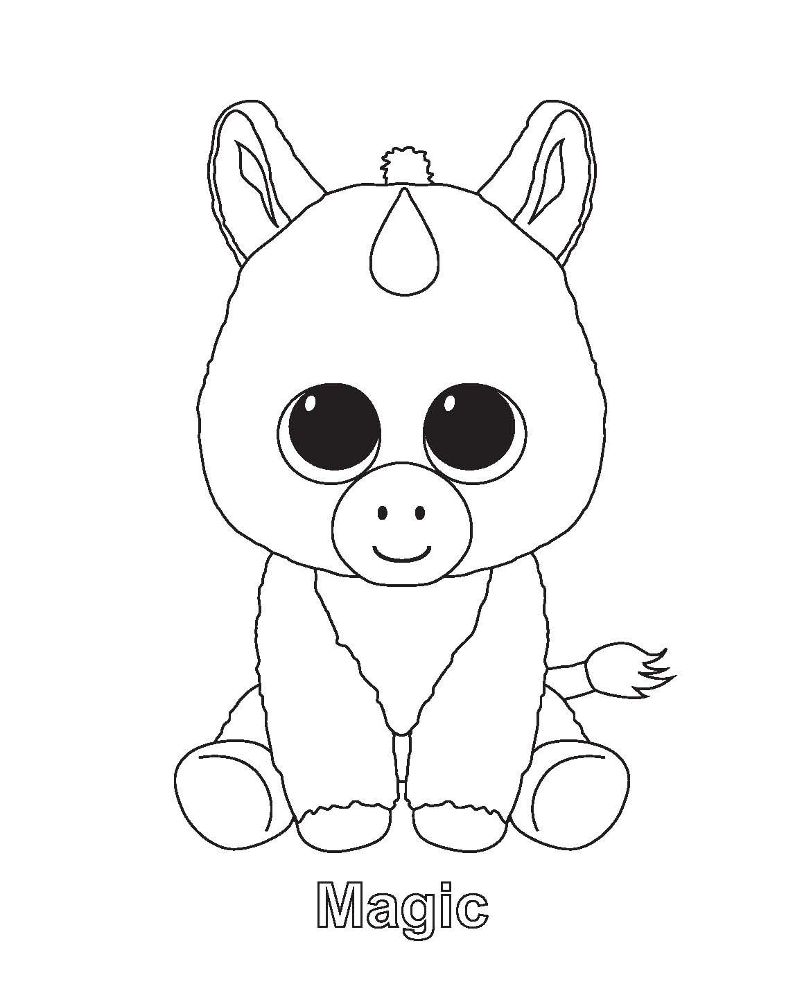Ty Beanie Boo Coloring Pages Download And Print For Free Unicorn