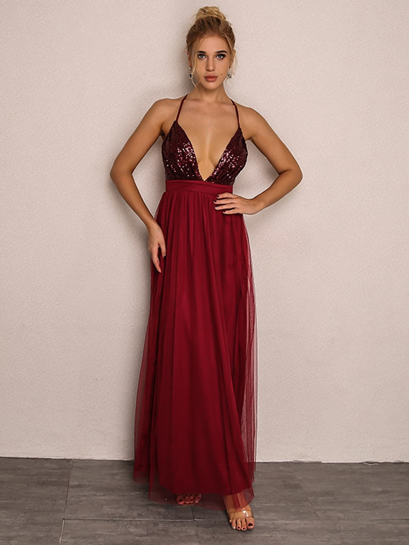 Sexy Slip Backless and Criss Cross and Contrast Sequin and Split Fit and  Flare Slit Deep V Neck Sleeveless High Waist Burgundy Maxi Length Plunging  Neck ... 74092b17d