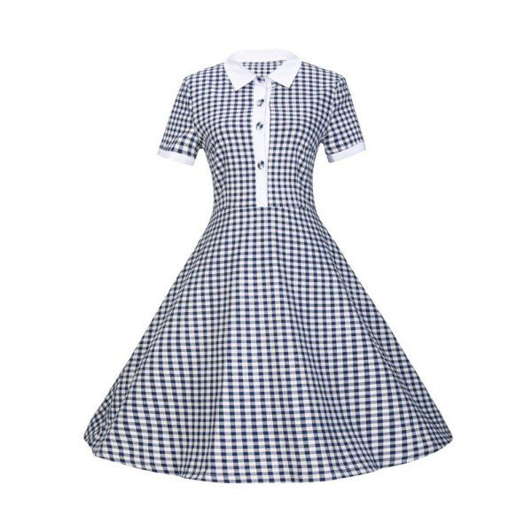 Wholesale Plaid Buttoned Flare Dress Only $8.82 Drop Shipping | TrendsGal.com