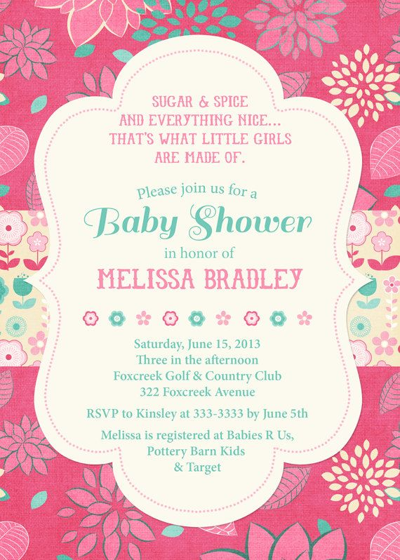 Pink and teal baby shower invitation baby girl shower invitation pink and teal baby shower invitation baby girl shower invitation pink and teal floral shower invite printable or printed filmwisefo Gallery
