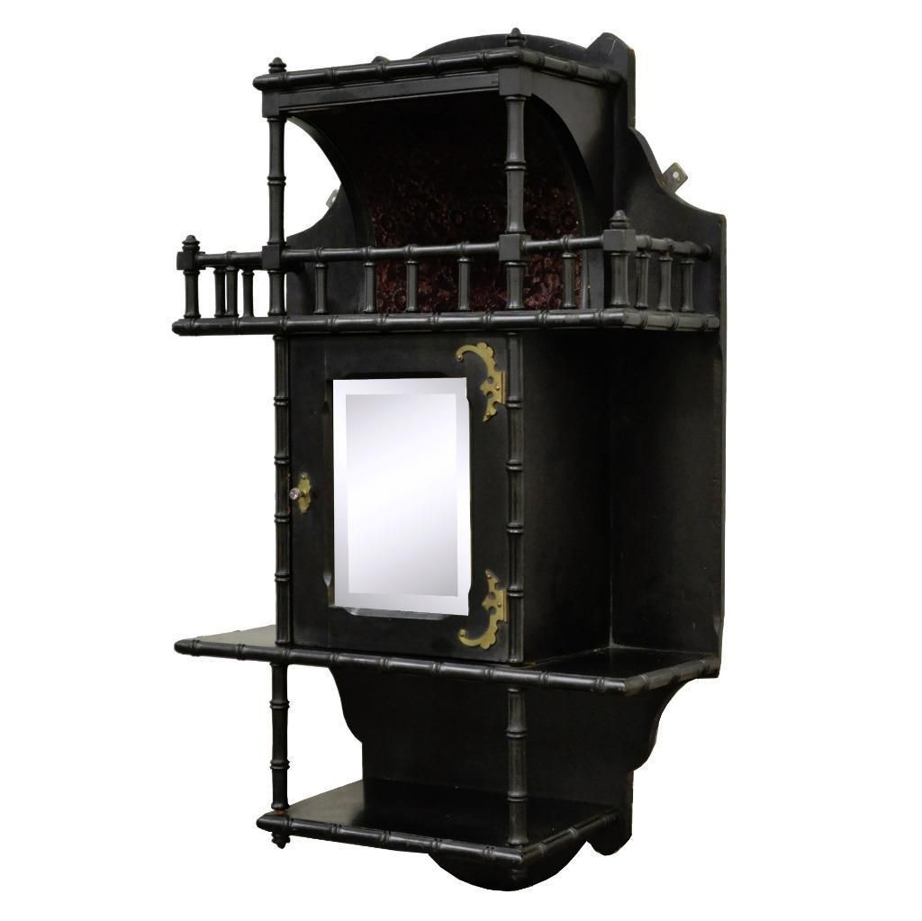 Small surface mounted replacement lock for antique furniture ebay - Antique Ebonized Victorian Eastlake Wall Hanging Etagere Mirror Curio Cabinet