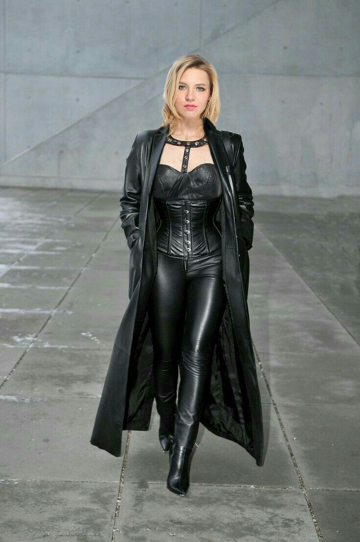 Black coat fetish leather picture
