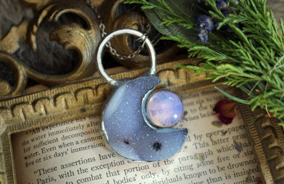 Opalite and Quartz Crescent Moon Necklace Crystal by TwoBirdTwo