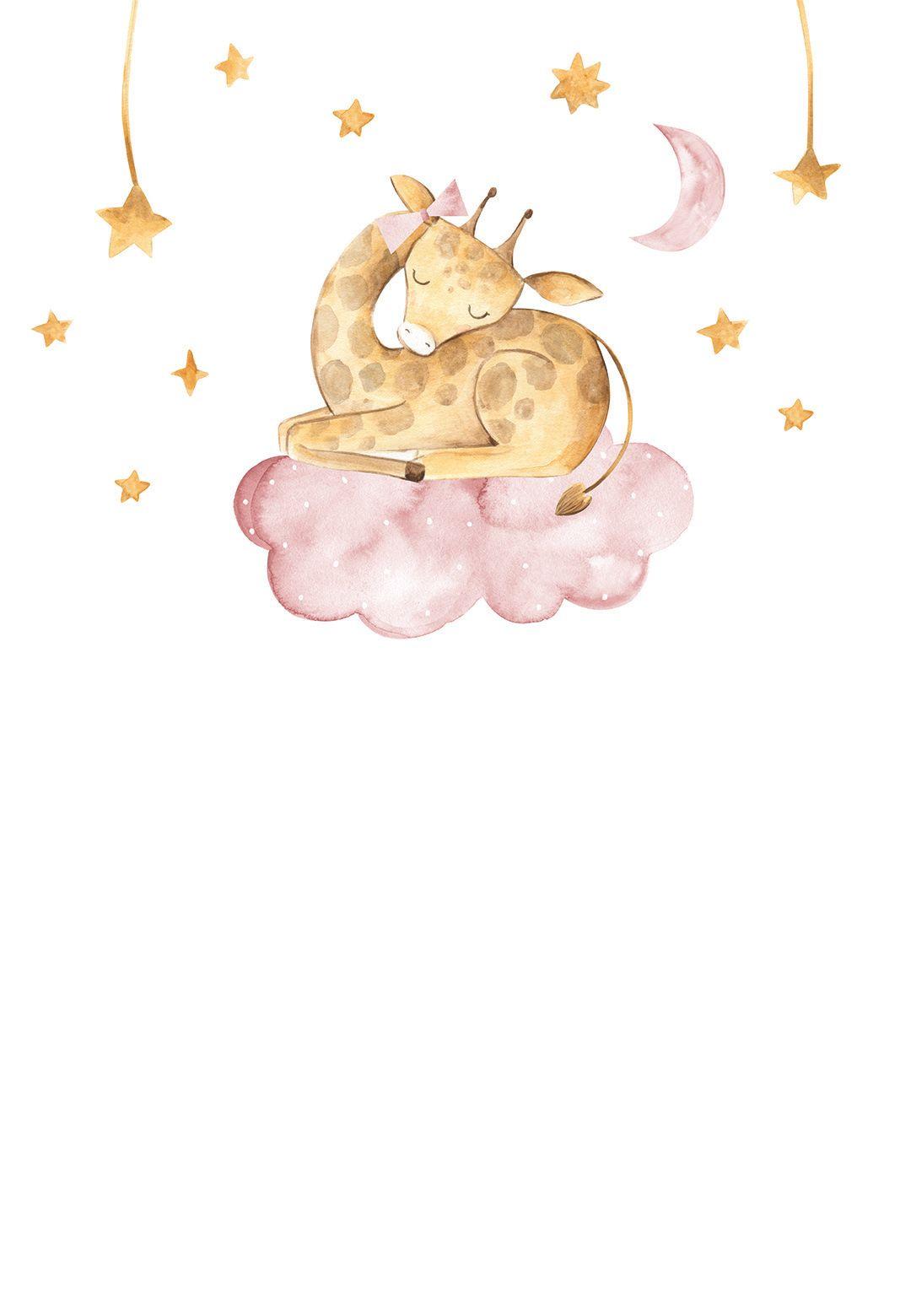 Sleeping Elephant and Girraffe - Baby Shower Invit