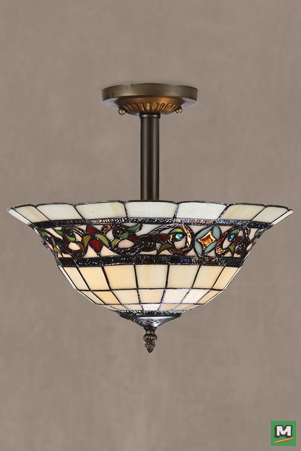 Patriot lighting elegant home mansfield semi flush mount ceiling light with bronze finish and