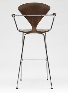 Incroyable Norman Cherner Bar Stool With Arms Chrome Base In Classic Walnut