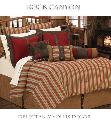 Rock Canyon Rustic Bedding Comforter Set Features A Tan And Red